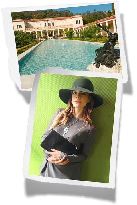 Hat, Green, Costume accessory, Swimming pool, Sun hat, Fashion accessory, Jewellery, Fedora, Waist, Long hair,