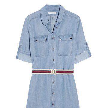 sandro denim shirt dress