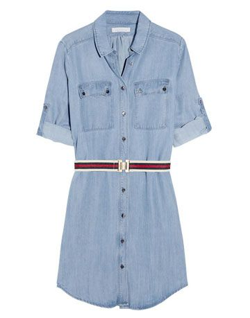 sandro denim shirt dress