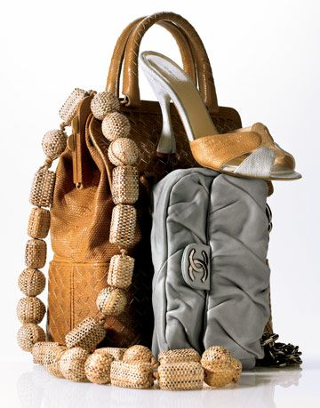 collection of a yves saint lauren necklace, bottega veneta woven bag, donna karan mule, and chanel quilted bag.