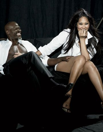 kimora lee simmons and djimon hounsou both in calvin klein collection djimon in giorgio armani shoes and kimora in jimmy choo sandals