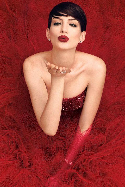 Ear, Mouth, Lip, Skin, Red, Eyelash, Jewellery, Fashion accessory, Dress, Eye shadow,