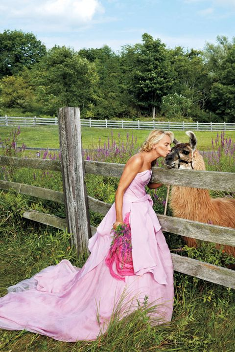 Dress, Plant, Pink, Farm, Gown, Day dress, Rural area, Ranch, One-piece garment, Spring,