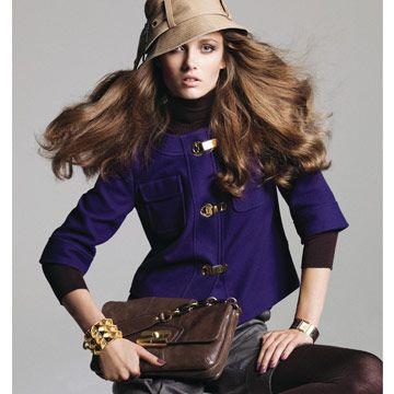 model in purple jacket