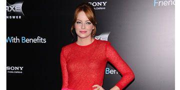 emma stone giambattista valli pink red dress friends with benefits premiere