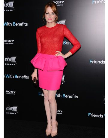 emma stone giambattista valli pink red dress friends with benefits premiere