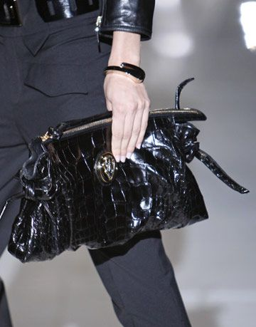 black alligator skin ovrsized clutch by gucci