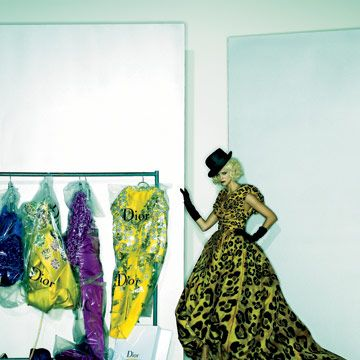 embroidered leopard print silk dress with hat and gloves