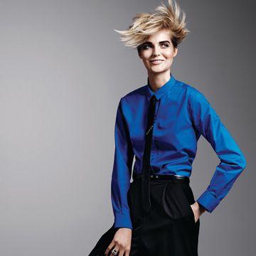 model in blue shirt