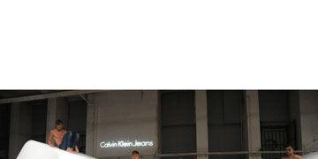 models wearing calvin klein jeans in berlin at fashion week