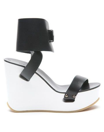 chloe platform wedge colorblock black white