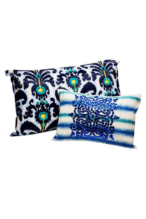 Blue, Textile, Cushion, Throw pillow, Pillow, Linens, Pattern, Turquoise, Teal, Home accessories,