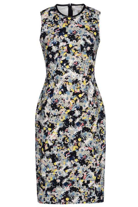 Yellow, Pattern, Textile, Dress, One-piece garment, Day dress, Fashion, Grey, Aqua, Teal,