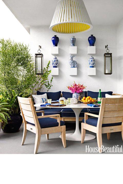 Yellow, Room, Furniture, Interior design, Table, Lampshade, Flowerpot, Interior design, Light fixture, Home,