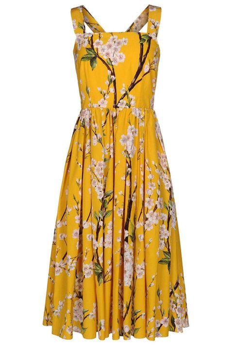 Yellow, Product, Dress, Sleeve, Textile, Orange, Pattern, One-piece garment, Amber, Formal wear,