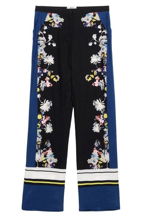 Yellow, Textile, Electric blue, Active pants, Fashion design, Visual arts, Pocket, Pattern, Costume design, Nightwear,