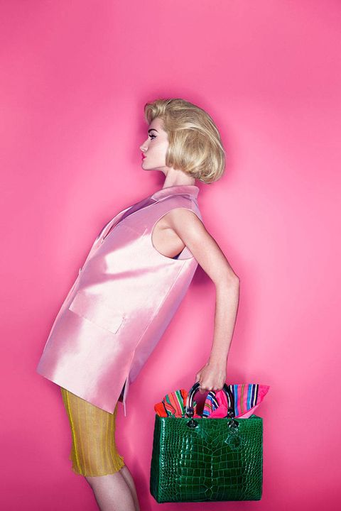 Shoulder, Pink, Bag, Magenta, One-piece garment, Fashion illustration, Doll, Toy, Shoulder bag, Luggage and bags,