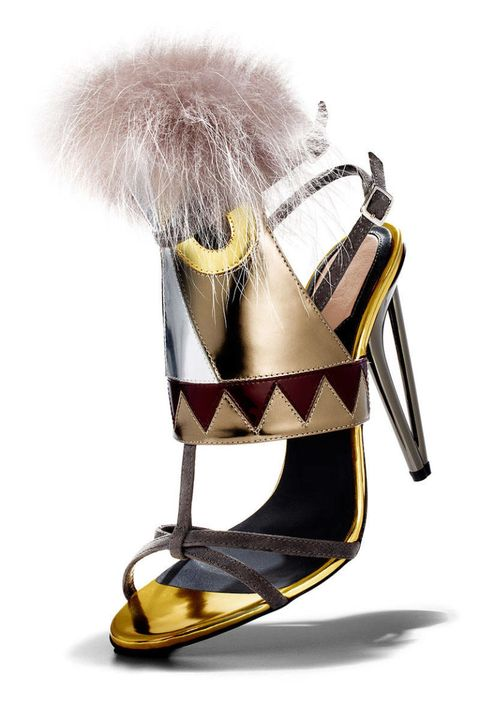 Yellow, Costume accessory, Fur, Sandal, High heels, Natural material, Slingback, Fashion design, Strap,