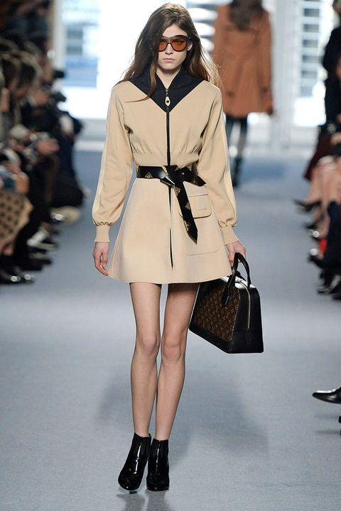 Clothing, Footwear, Brown, Shoulder, Fashion show, Human leg, Outerwear, Style, Pattern, Street fashion,