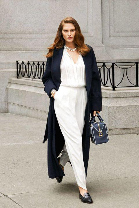 Clothing, Shoulder, Outerwear, Style, Formal wear, Street fashion, Bag, Fashion model, Fashion, Beige,