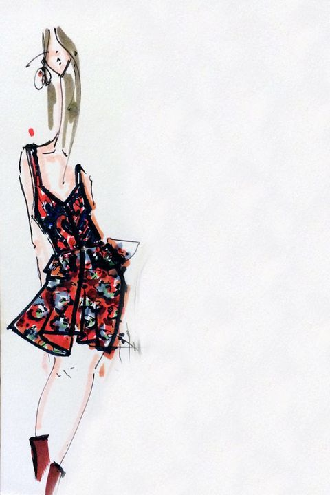 Shoulder, Joint, Fashion illustration, Carmine, Art, Waist, Artwork, Painting, Line art, Costume design,