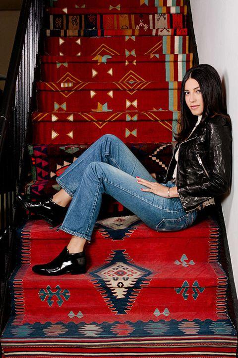 Leg, Denim, Human leg, Jeans, Shoe, Textile, Red, Sitting, Fashion, Carmine,