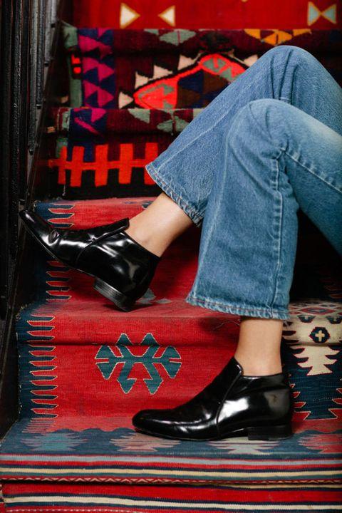 Footwear, Shoe, Denim, Jeans, Human leg, Red, Carmine, Fashion, Street fashion, High heels,