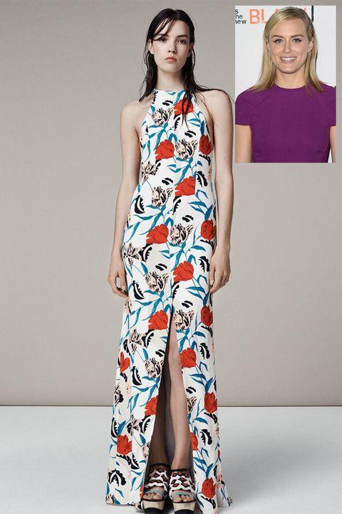 Shoulder, Joint, Style, Pattern, Fashion model, Dress, Waist, Beauty, Fashion, Neck,
