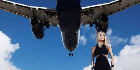 Airplane, Sky, Blue, Aircraft, Cloud, Dress, Air travel, Aviation, Aerospace engineering, Aircraft engine,