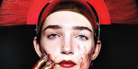 Nose, Lip, Mouth, Cheek, Red, Headgear, Colorfulness, Art, Eyelash, Maroon,