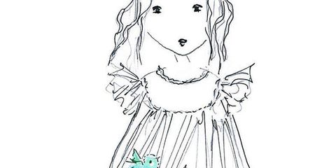 White, Line art, Art, Artwork, Day dress, Illustration, Drawing, Coloring book, Creative arts, One-piece garment,