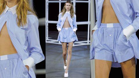 Clothing, Blue, Sleeve, White, Style, Denim, Uniform, Waist, Dress shirt, Thigh,