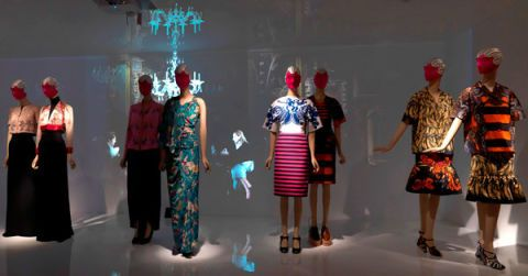 Social group, Standing, Dress, Costume design, Fashion, One-piece garment, Electric blue, Fashion design, Mannequin, Costume,