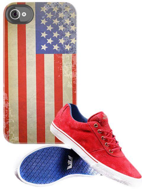 Footwear, Blue, Shoe, Red, White, Pattern, Carmine, Electric blue, Maroon, Mobile phone case,