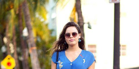 Clothing, Shoulder, Sunglasses, Style, Street fashion, Electric blue, Dress, Fashion, Fashion model, Cobalt blue,