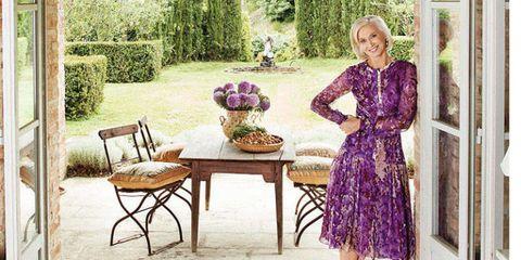 Dress, Table, Purple, Flooring, Floor, Outdoor table, One-piece garment, Lavender, Outdoor furniture, Garden,