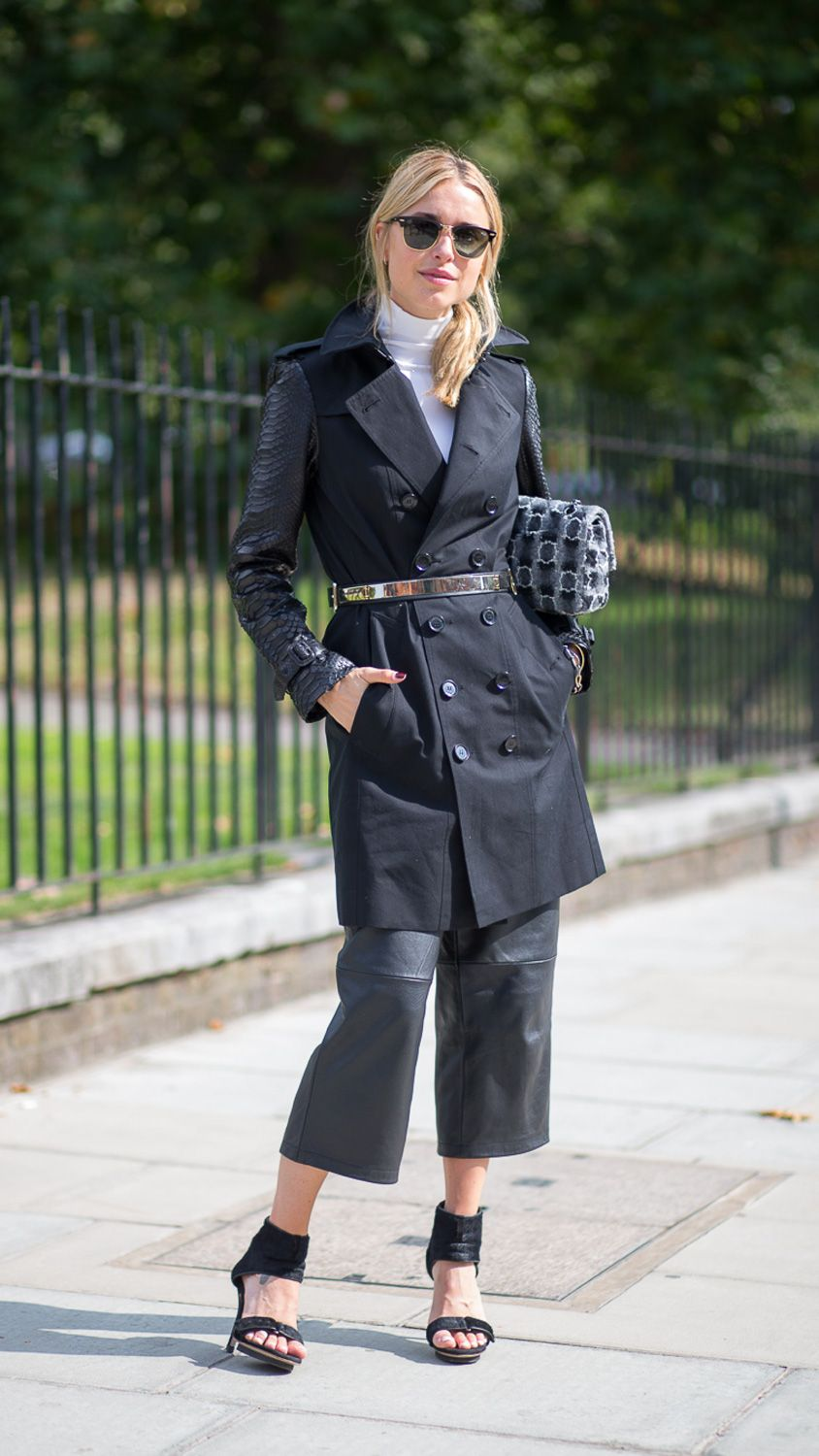 how to wear leather culottes - shop chic pants at shopbazaar