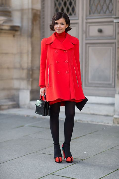 Clothing, Sleeve, Shoulder, Human leg, Joint, Red, Outerwear, Style, Collar, Street fashion,