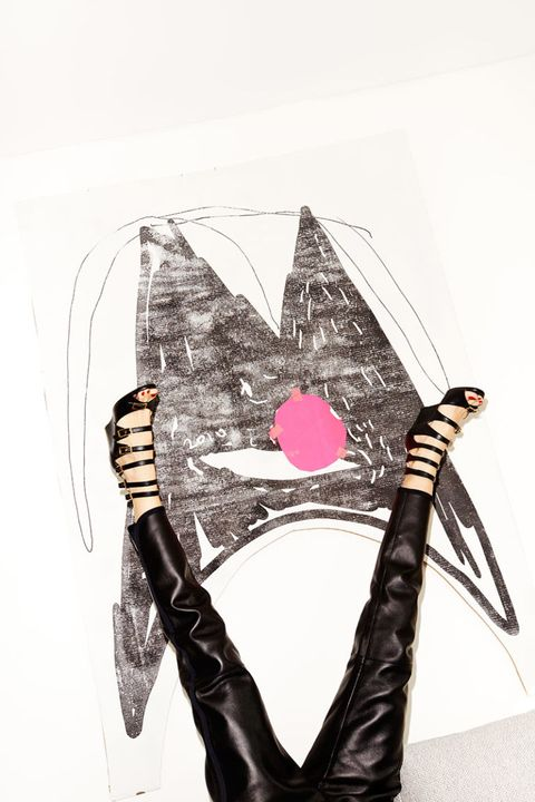 Art, Latex, Writing implement, Leather, Costume accessory, Pen, Illustration, Drawing, Bracelet, Latex clothing,