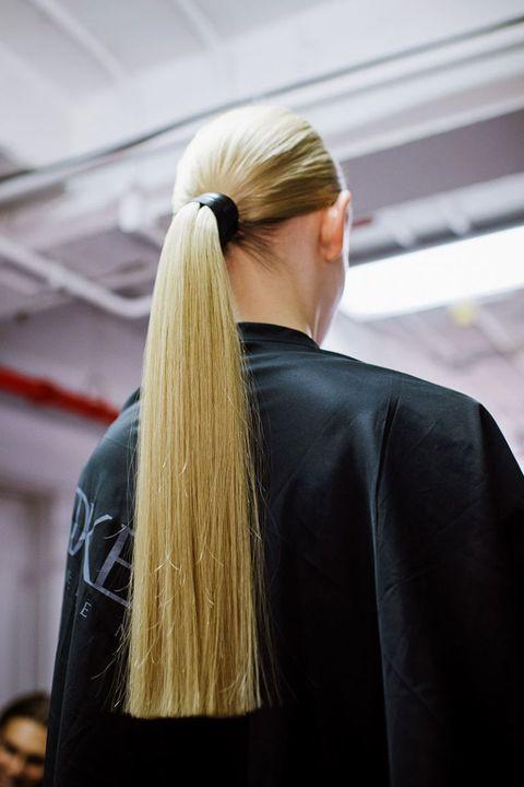 Hairstyle, Fashion, Blond, Long hair, Back, Street fashion, Ponytail, Brown hair, Hair coloring, Earrings,