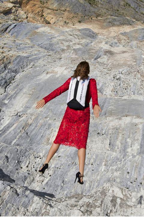 Carmine, Maroon, Street fashion, Bag, High heels,