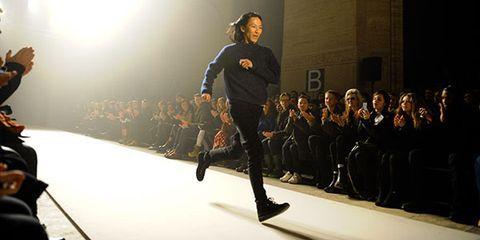 Fashion show, Runway, Hall, Fashion model, Audience, Fashion design, Balance, Backlighting,