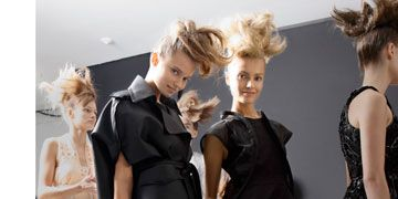 models backstage at fendi