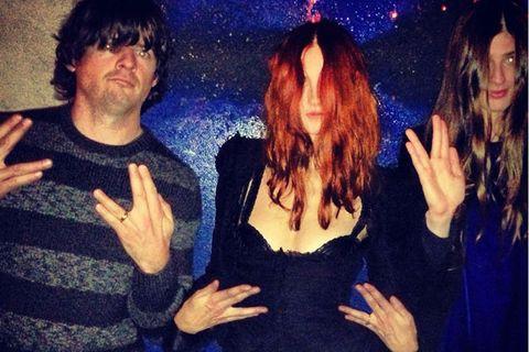 Arm, Finger, Fun, Hand, Dress, Thumb, Gesture, Long hair, Little black dress, Brown hair,