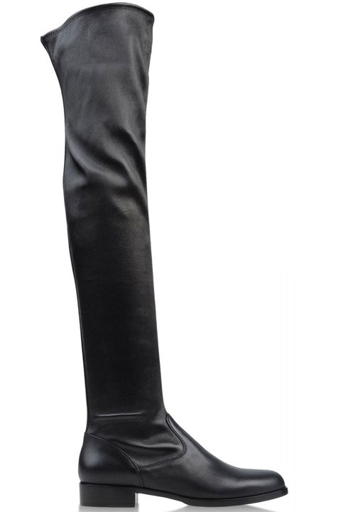 Boot, Riding boot, Knee-high boot, Black, Leather, Synthetic rubber, Motorcycle boot,