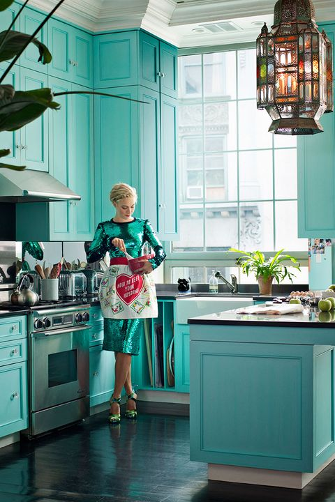 Green, Room, Kitchen, Countertop, Teal, Major appliance, Cabinetry, Turquoise, Kitchen stove, Dress,