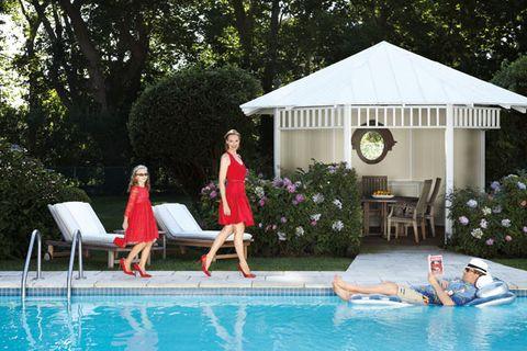 Swimming pool, Leisure, Outdoor furniture, Gazebo, Summer, Real estate, Vacation, Aqua, Resort, Shade,