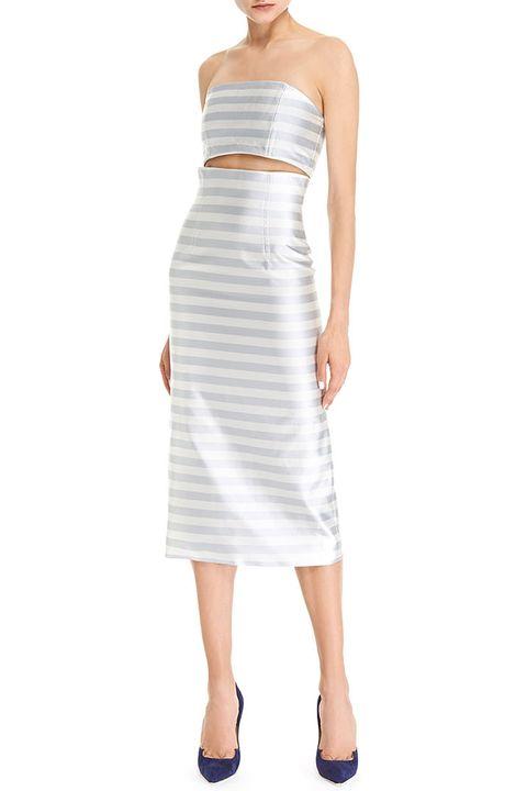 Footwear, Dress, Sleeve, Shoulder, Standing, Joint, White, One-piece garment, Formal wear, Elbow,