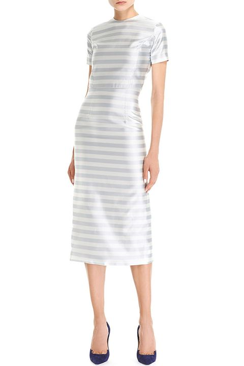 Product, Sleeve, Dress, Shoulder, Standing, Textile, Joint, White, One-piece garment, Formal wear,