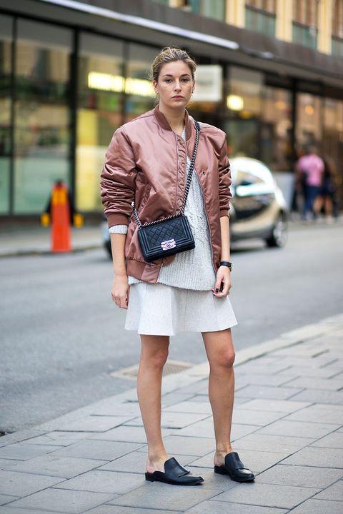 Clothing, Shoulder, Street, Human leg, Road, Outerwear, Bag, Street fashion, Style, Collar,